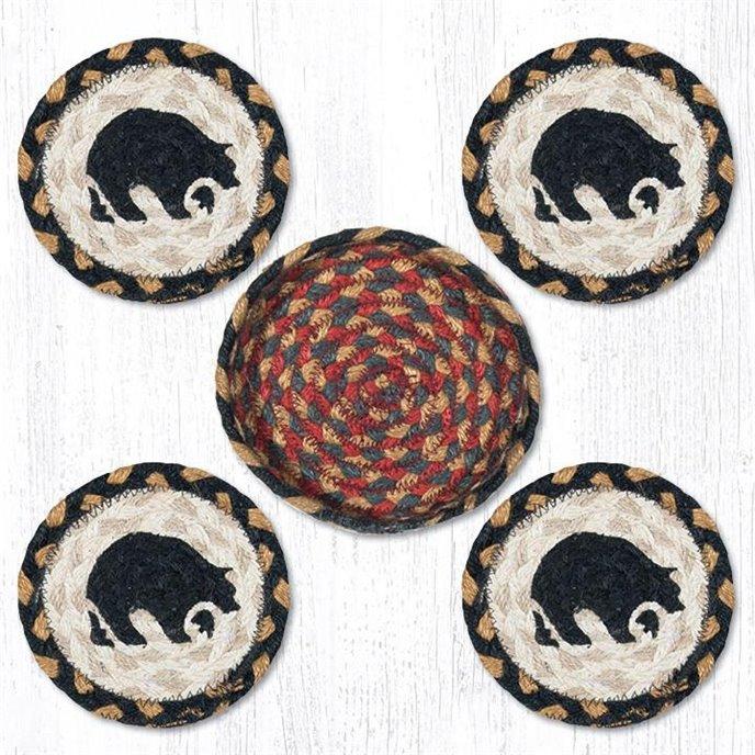 "Black Bear Braided Coasters in a Basket 5""x5"" Set of 4 Thumbnail"
