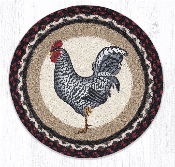 "Black & White Rooster Round Braided Chair Pad 15.5""x15.5"" Thumbnail"
