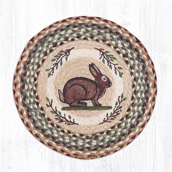 "Vintage Rabbit Round Braided Chair Pad 15.5""x15.5"" Thumbnail"