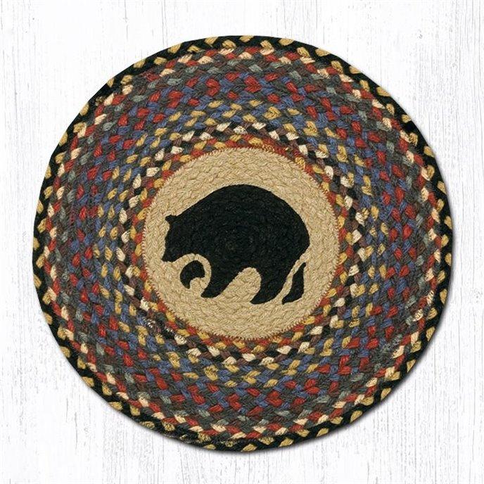 """Black Bear Round Braided Chair Pad 15.5""""x15.5"""" Thumbnail"""