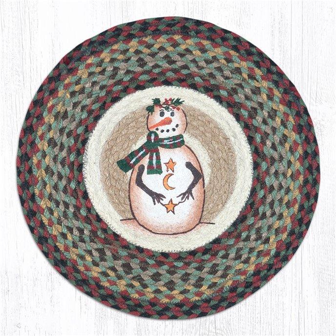 """Moon & Star Snowman Round Braided Chair Pad 15.5""""x15.5"""" Thumbnail"""