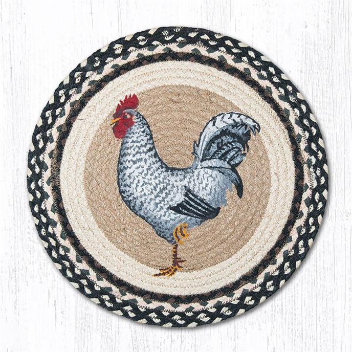 """Black & White Rooster Round Braided Chair Pad 15.5""""x15.5"""" Thumbnail"""