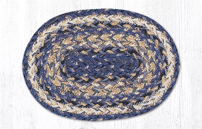 "Deep Blue Oval Braided Swatch 7.5""x11"" Thumbnail"