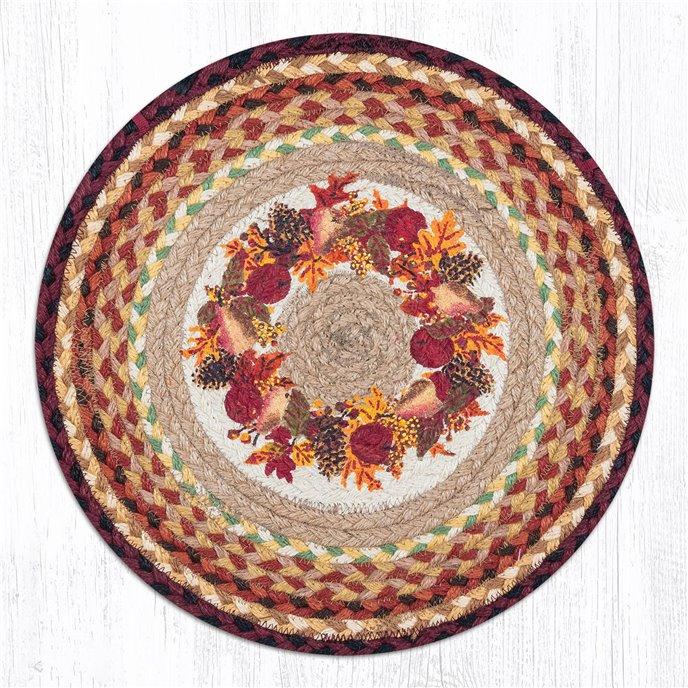 """Autumn Wreath Round Braided Chair Pad 15.5""""x15.5"""" Thumbnail"""