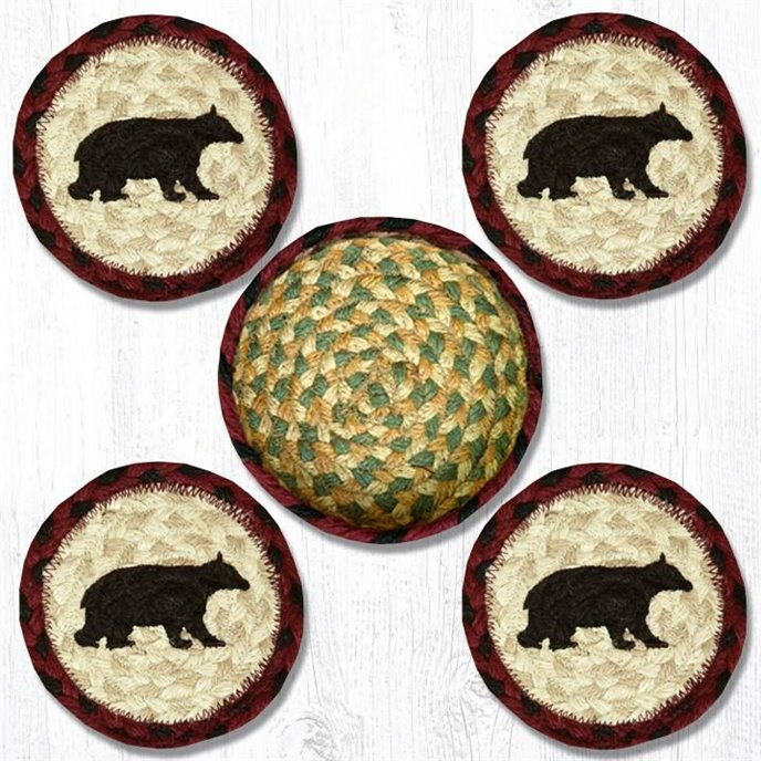 """Cabin Bear Braided Coasters in a Basket 5""""x5"""" (Set of 4) Thumbnail"""