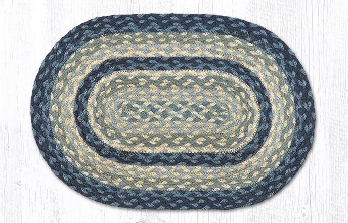 """Breezy Blue/Taupe/Ivory Oval Braided Swatch 10""""x15"""" Thumbnail"""