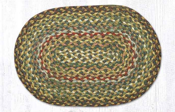 """Fir/Ivory Oval Braided Swatch 10""""x15"""" Thumbnail"""