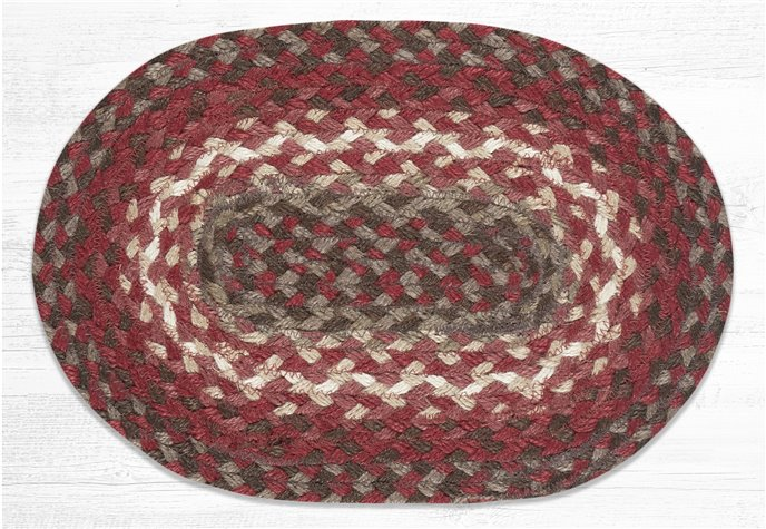 """Taupe/Chestnut/Chili Pepper Oval Braided Swatch 10""""x15"""" Thumbnail"""