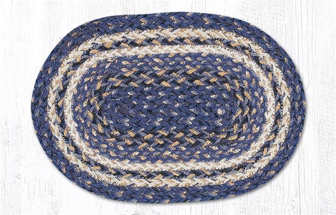 "Deep Blue Oval Braided Swatch 10""x15"" Thumbnail"