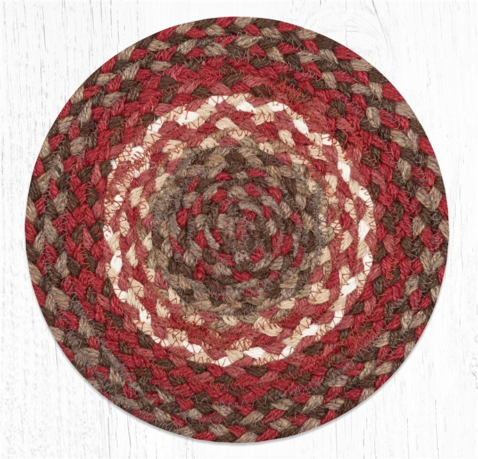 """Taupe/Chestnut/Chili Pepper Round Braided Swatch 10""""x10"""" Thumbnail"""