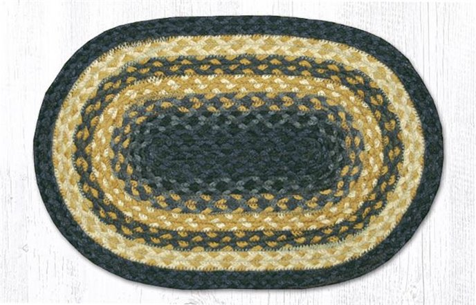 "Lt. Blue/Dk. Blue/Mustard Oval Braided Swatch 10""x15"" Thumbnail"