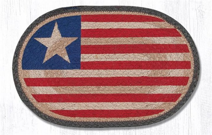 "Original Flag Printed Oval Braided Swatch 10""x15"" Thumbnail"