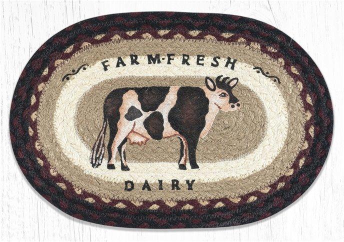 "Farmhouse Cow Printed Oval Braided Swatch 10""x15"" Thumbnail"