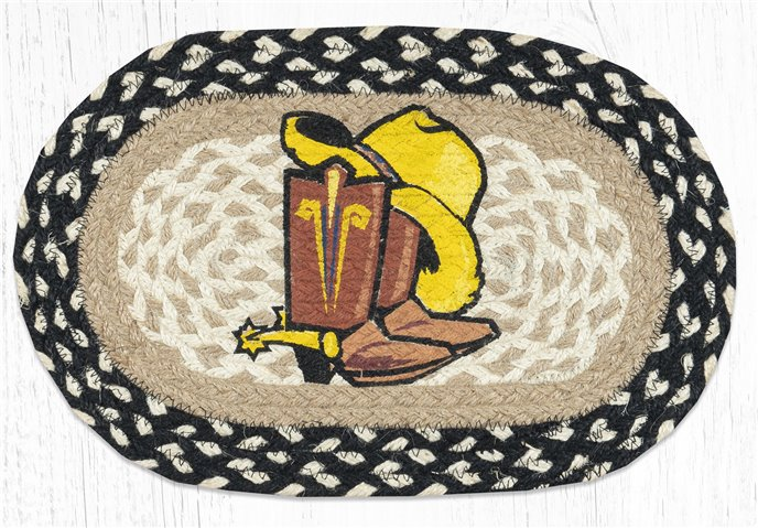 """Cowboy Spurs Printed Oval Braided Swatch 10""""x15"""" Thumbnail"""