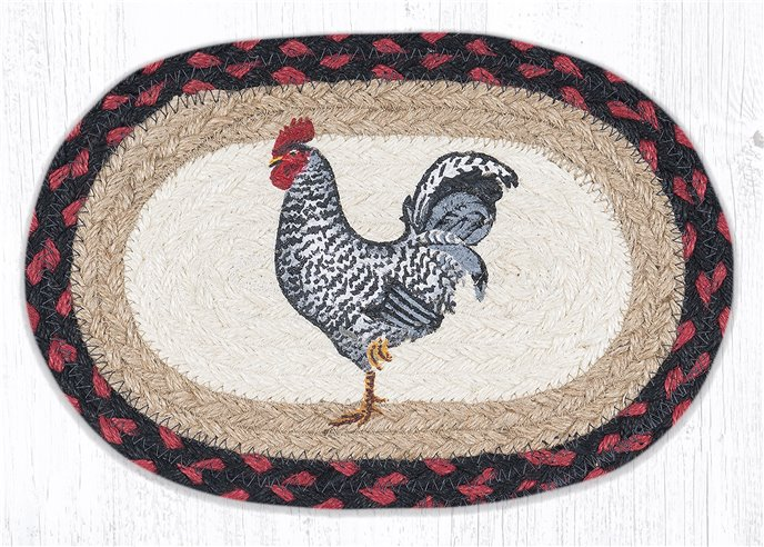 """Black & White Rooster Printed Oval Braided Swatch 7.5""""x11"""" Thumbnail"""