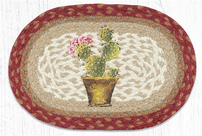 "Cactus Printed Oval Braided Swatch 10""x15"" Thumbnail"