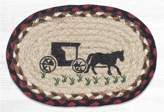 """Amish Buggy Printed Oval Braided Swatch 7.5""""x11"""" Thumbnail"""