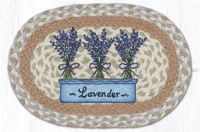"""Lavender Printed Oval Braided Swatch 10""""x15"""" Thumbnail"""