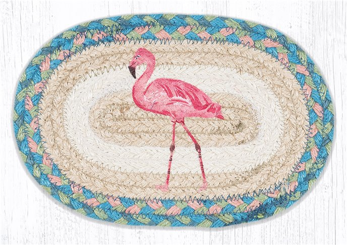 """Pink Flamingo Printed Oval Braided Swatch 7.5""""x11"""" Thumbnail"""