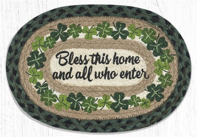 """Bless this Home Printed Oval Braided Swatch 10""""x15"""" Thumbnail"""