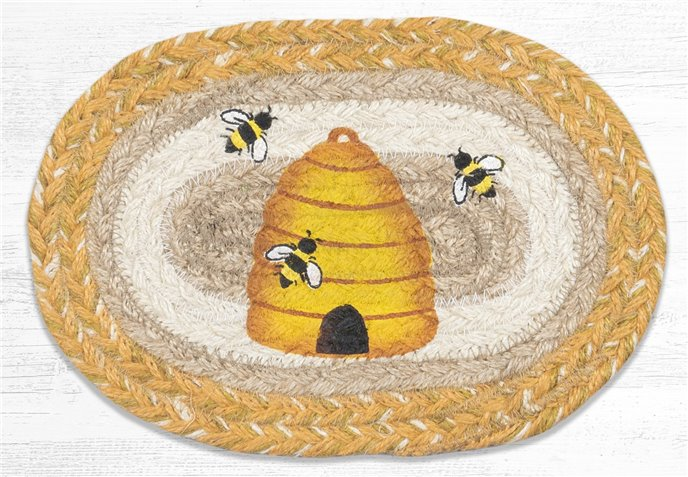 """Beehive Printed Oval Braided Swatch 7.5""""x11"""" Thumbnail"""