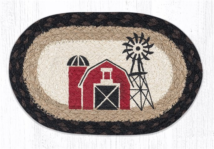 """Windmill Printed Oval Braided Swatch 7.5""""x11"""" Thumbnail"""