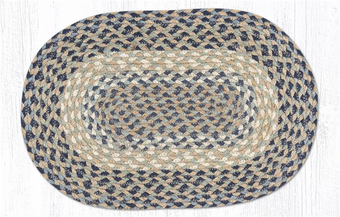"""Blue/Natural Oval Braided Swatch 10""""x15"""" Thumbnail"""