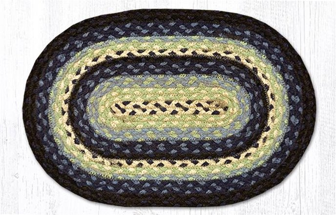 """Blueberry/Cream Oval Braided Swatch 10""""x15"""" Thumbnail"""