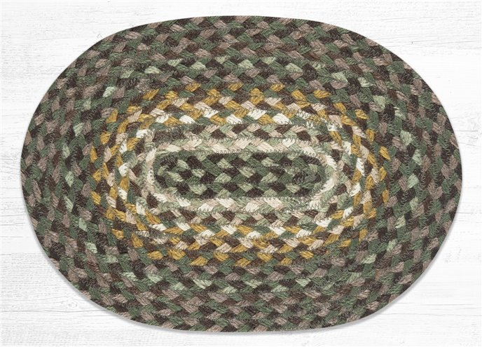 """Chestnut/Golden Rod/Cactus Oval Braided Swatch 10""""x15"""" Thumbnail"""