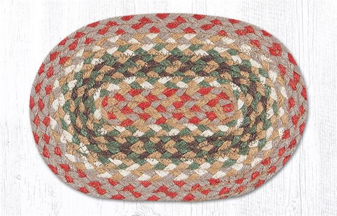"""Olive/Burgundy/Gray Oval Braided Swatch 7.5""""x11"""" Thumbnail"""