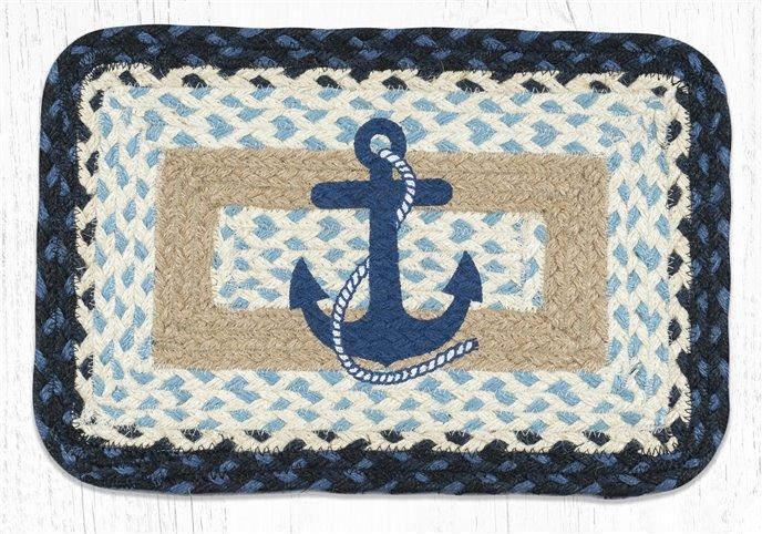 "Navy Anchor Rectangular Printed Braided Swatch 10""x15"" Thumbnail"