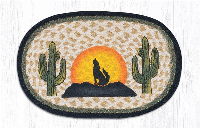 """Coyote Silhouette Printed Oval Braided Swatch 10""""x15"""" Thumbnail"""