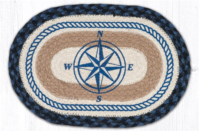 """Compass Rose Printed Oval Braided Swatch 10""""x15"""" Thumbnail"""