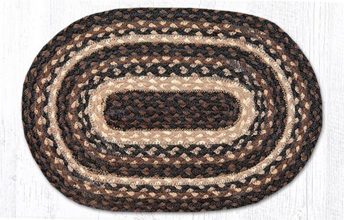 """Mocha/Frappuccino Oval Braided Swatch 10""""x15"""" Thumbnail"""