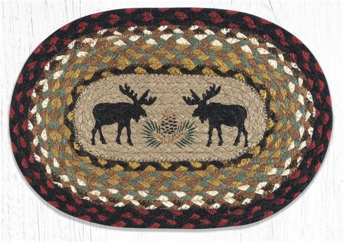 "Black Moose Printed Oval Braided Swatch 7.5""x11"" Thumbnail"