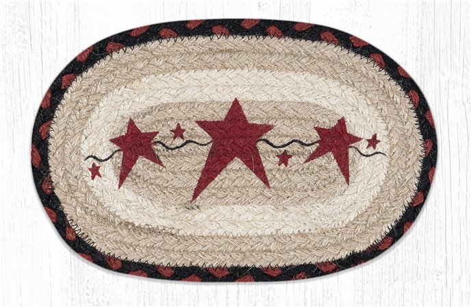 "Primitive Stars Burgundy Printed Oval Braided Swatch 7.5""x11"" Thumbnail"