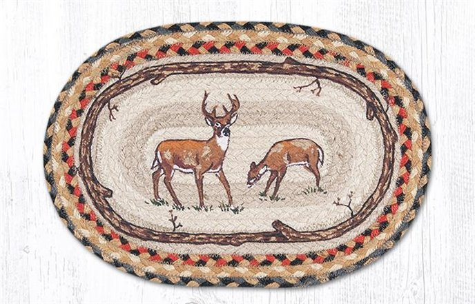 """Deer Printed Oval Braided Swatch 10""""x15"""" Thumbnail"""