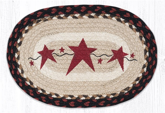 """Primitive Stars Burgundy Printed Oval Braided Swatch 10""""x15"""" Thumbnail"""