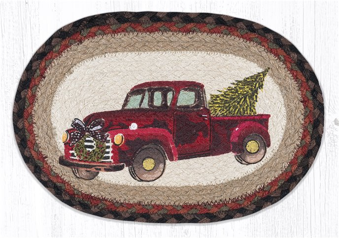 """Christmas Truck Printed Oval Braided Swatch 10""""x15"""" Thumbnail"""
