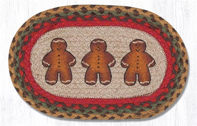"""Gingerbread Man Printed Oval Braided Swatch 10""""x15"""" Thumbnail"""