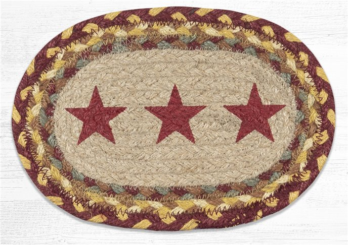 """Burgundy Star Printed Oval Braided Swatch 7.5""""x11"""" Thumbnail"""