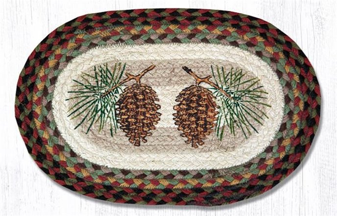"""Pinecone Printed Oval Braided Swatch 10""""x15"""" Thumbnail"""