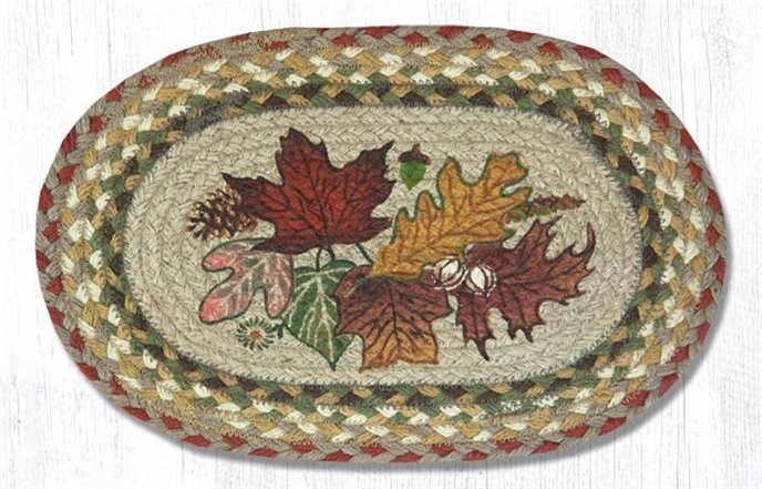 """Autumn Leaves Printed Oval Braided Swatch 10""""x15"""" Thumbnail"""