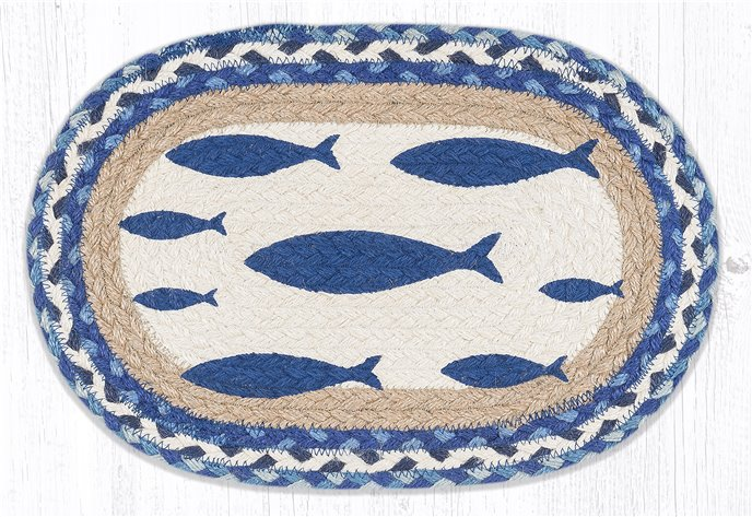 """Fish Printed Oval Braided Swatch 10""""x15"""" Thumbnail"""