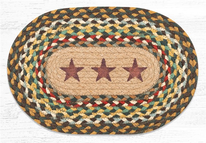"""Gold Stars Printed Oval Braided Swatch 10""""x15"""" Thumbnail"""