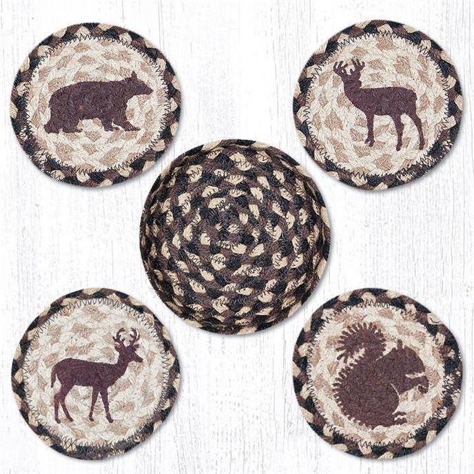 """Wildlife Braided Coasters in a Basket 5""""x5"""" Set of 4 Thumbnail"""