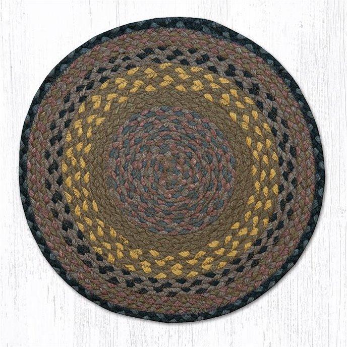 """Brown/Black/Charcoal Jute Braided Chair Pad 15.5""""x15.5"""" Thumbnail"""