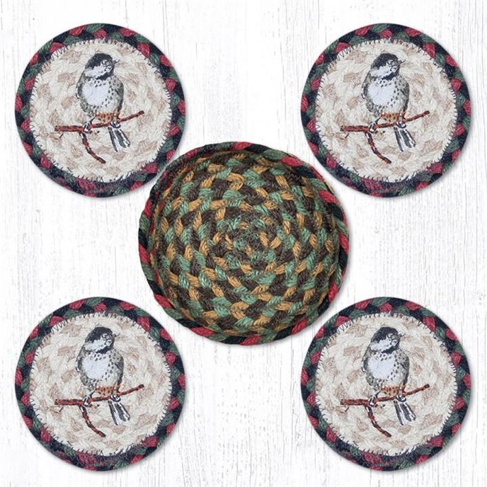 """Chickadee Braided Coasters in a Basket 5""""x5"""" Set of 4 Thumbnail"""
