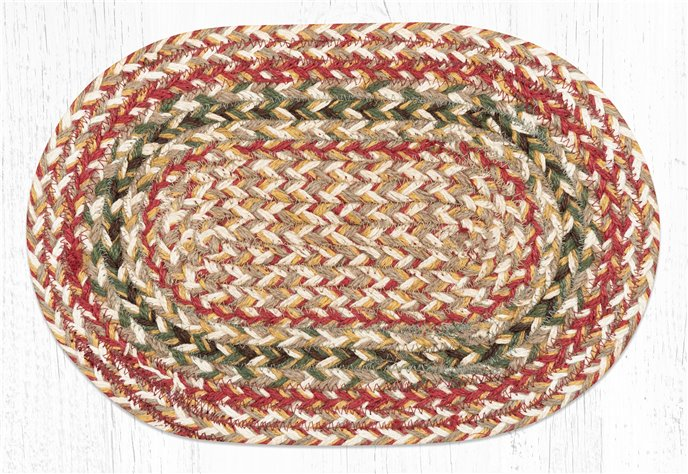 """Olive Oval Braided Swatch 10""""x15"""" Thumbnail"""