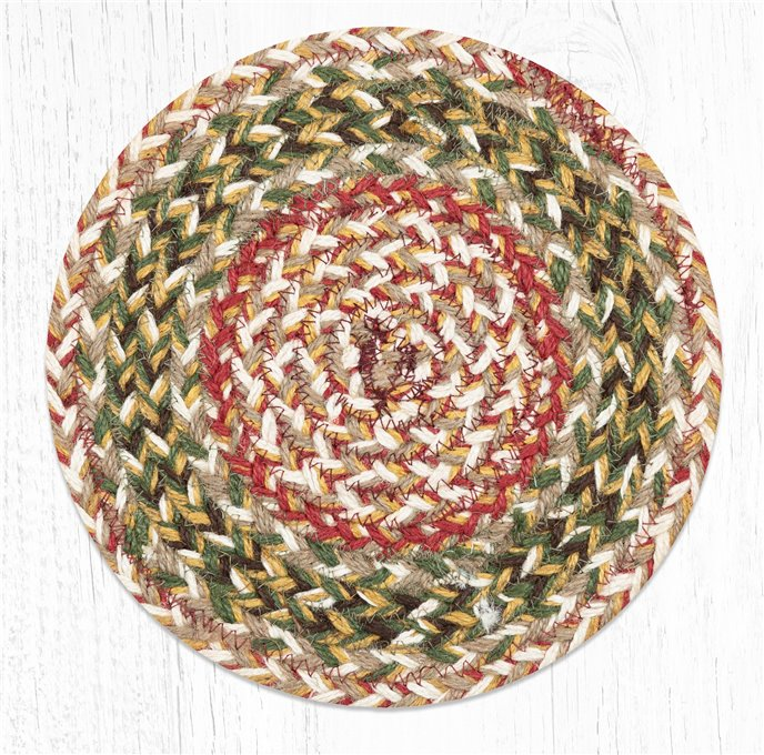 """Olive Round Braided Swatch 10""""x10"""" Thumbnail"""